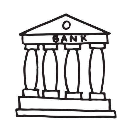 Handdrawn doodle bank building icon. Hand drawn black sketch. Sign symbol. Decoration element. White background. Isolated. Flat design. Vector illustration