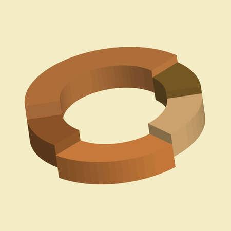 3D Infographics, donut circle divided into sectors charts Foto de archivo - 115950244