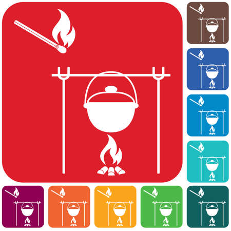 Fire and pot icon. Vector illustration. Stock Vector - 125506346