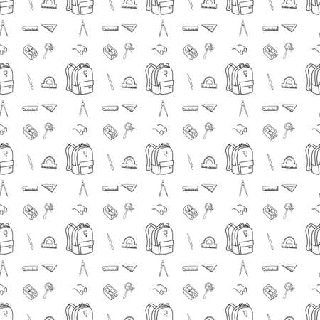 Hand drawn school supplies in seamless pattern. Vector illustration