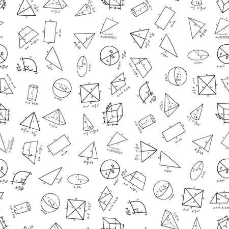 Hand drawn geometry supplies in seamless pattern. Vector illustration Çizim