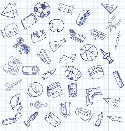 Vector set of secondary school icons in doodle style. Painted, drawn with a pen, on a sheet of checkered paper on a white background Banque d'images - 125275326