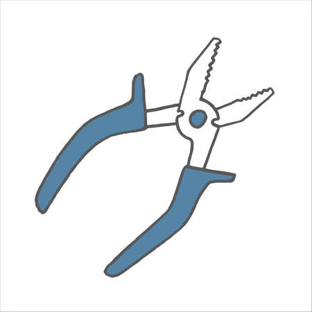 Pinces dessinées à la main doodle. Icône de style de croquis. Conception plate. Illustration vectorielle