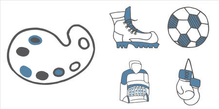 Set of school and busines equipment doodle icons. Vector illustration
