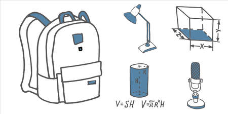 Set of school and busines equipment doodle icons. Vector illustration Zdjęcie Seryjne - 125248152