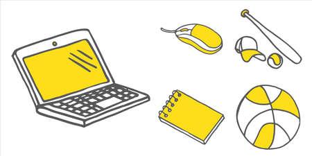 Set of school and other equipment. Doodle icons. Vector illustration Ilustração