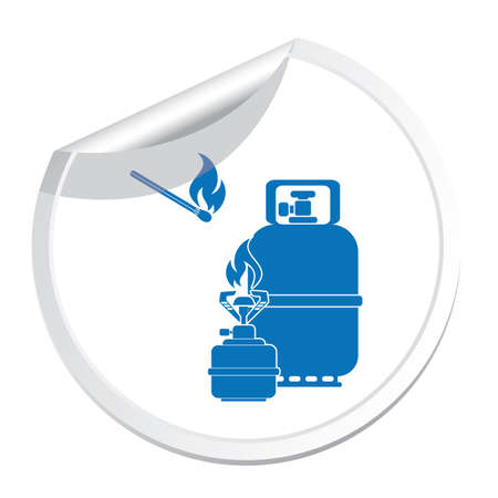 Camping stove with gas bottle icon vector. Vector illustration. Ilustrace