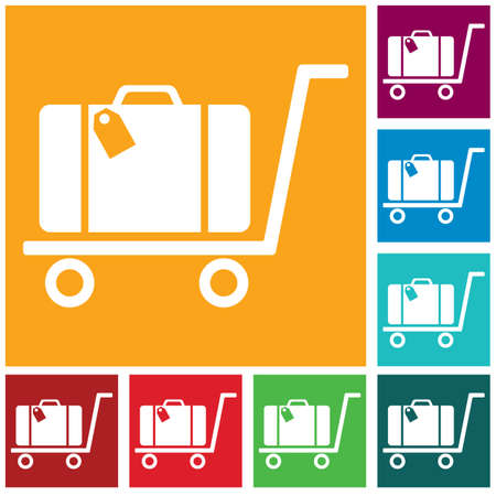 Luggage Trolley flat icon vector illustration Ilustrace