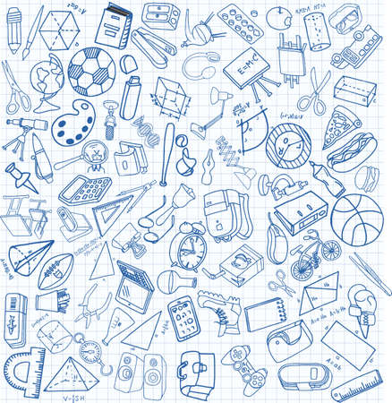 Vector set of secondary school icons in doodle style. Painted, drawn with a pen, on a sheet of checkered paper on a white background