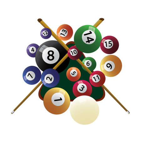 Billiard cue and pool balls. Biliard balls, triangle and pool stick for game on green table top view