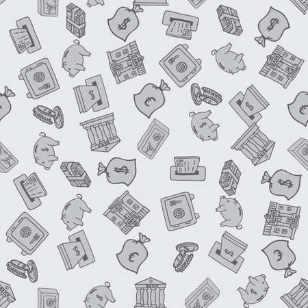 Hand drawn business finance supplies in seamless pattern. Vector illustration