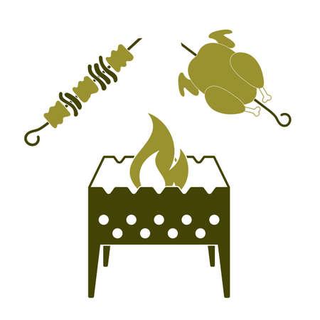Brazier, kebab and chicken . Vector illustration