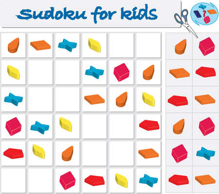 Sudoku for kids with colorful geometric figures. Game for preschool kids, training logic Banque d'images - 119278621