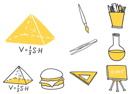 Set of school equipment doodle icons. Vector illustration Vektoros illusztráció