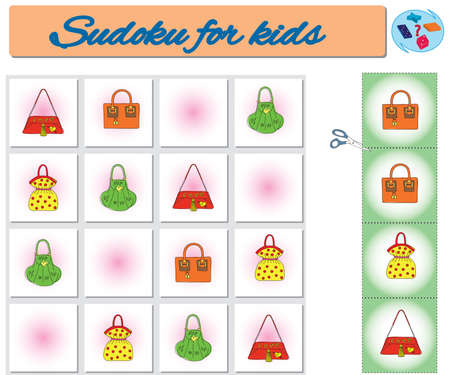 Sudoku for kids with colorful geometric figures. Game for preschool kids, training logic Banque d'images - 119995742