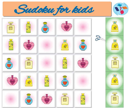 Sudoku for kids with colorful geometric figures. Game for preschool kids, training logic Banque d'images - 119995743