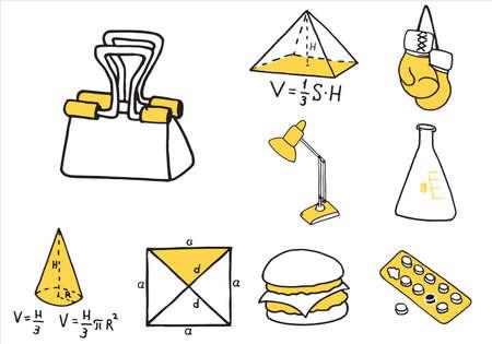 Set of school equipment doodle icons. Vector illustration