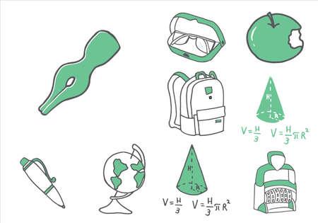 Set of school equipment doodle icons. Vector illustration Imagens - 121452436