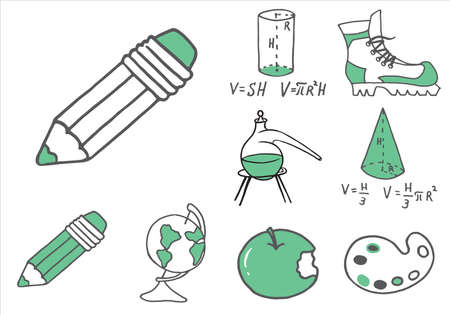 Set of school equipment doodle icons. Vector illustration