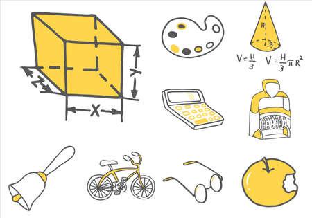 Set van school apparatuur doodle pictogrammen. vector illustratie Vector Illustratie