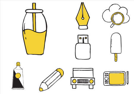 Set of varied equipment doodle icons. Vector illustration Illustration