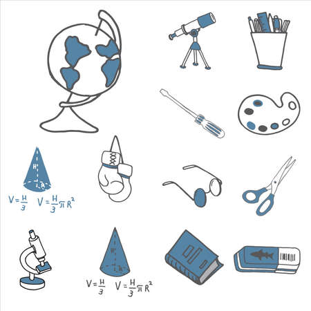 Set of diverse equipment doodle icons. Vector illustration