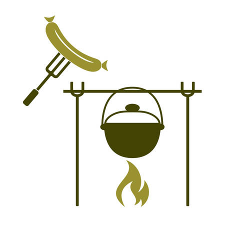 Fire, pot and sausage icon. Vector illustration. Stock Vector - 123434427