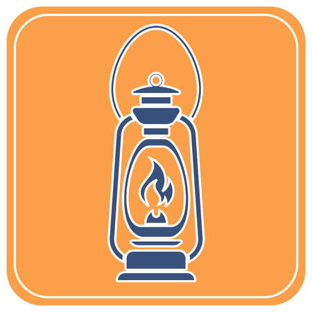 Antique Old Kerosene Lamp isolated. Retro design. Vector illustration.