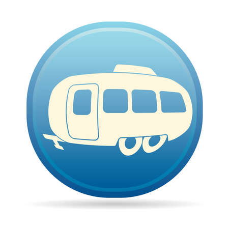 Camping trailer doodle icon. Vector illustration