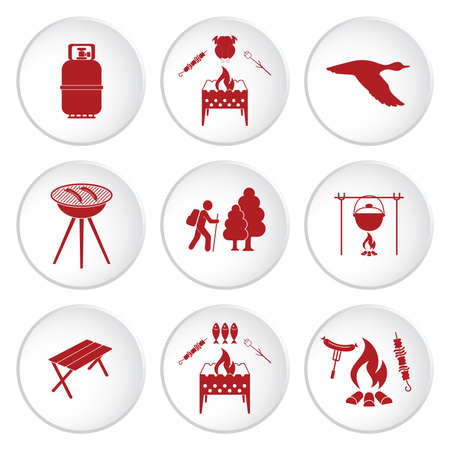 Set of travel and camping equipment icons. Vector illustration Vectores