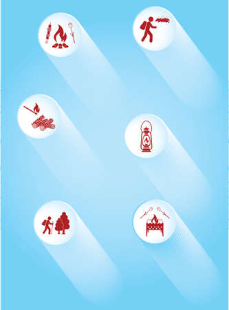 Poster with Set of travel and camping equipment icons. Vector illustration Ilustração