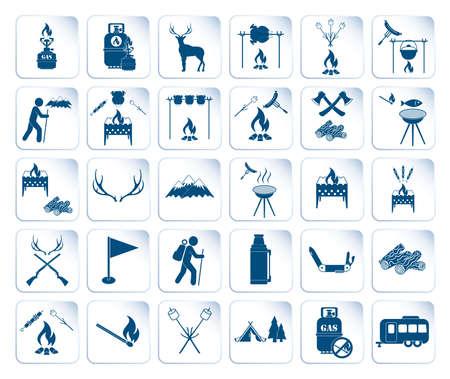 Set of travel and camping equipment icons. Vector illustration Ilustração