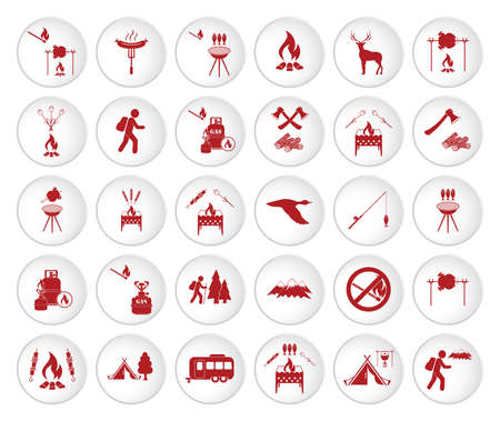 Set of travel and camping equipment icons. Vector illustration Ilustracja