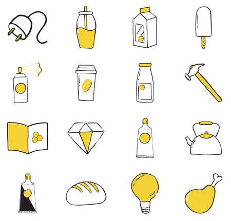 Set of doodle icons. Vector illustration Ilustração