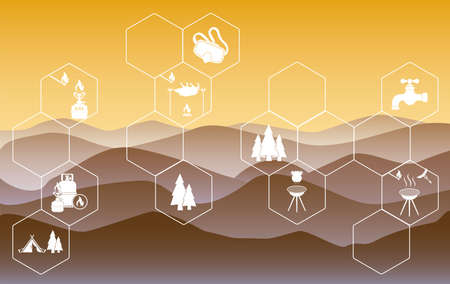 Poster with Set of travel and camping equipment icons. Vector illustration Stockfoto - 129793513