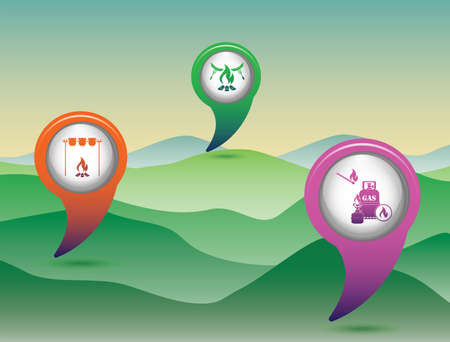 Poster with Set of travel and camping equipment icons. Map pointers. Vector illustration Иллюстрация