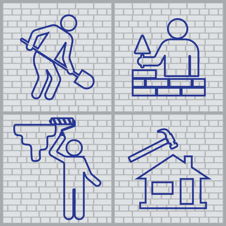 Plumber and  mason symbol icons set. Brick wall background. Vector illustration Foto de archivo - 129793530