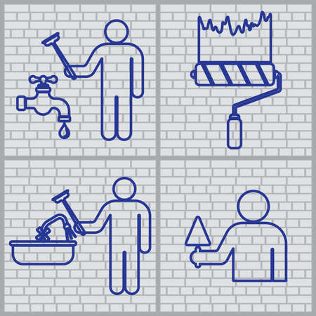 Plumber and  mason symbol icons set. Brick wall background. Vector illustration Foto de archivo - 129793535