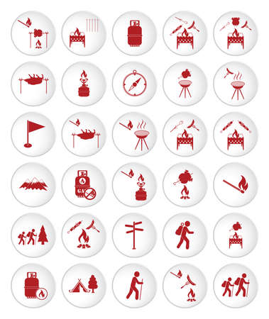 Set of travel and camping equipment icons. Vector illustration Stockfoto - 129793536