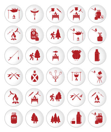 Set of travel and camping equipment icons. Vector illustration Фото со стока