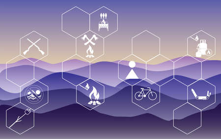 Poster with Set of travel and camping equipment icons. Vector illustration Иллюстрация
