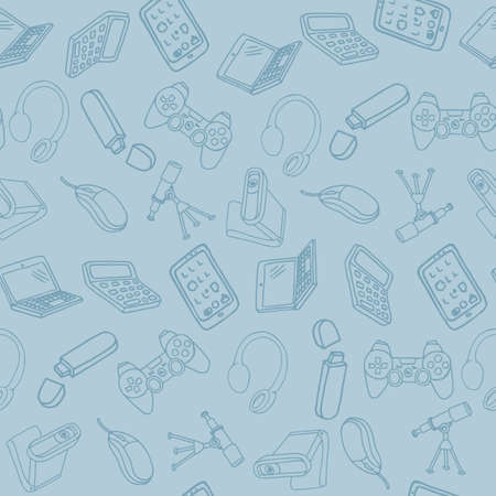 Hand drawn office supplies in seamless pattern. Vector illustration