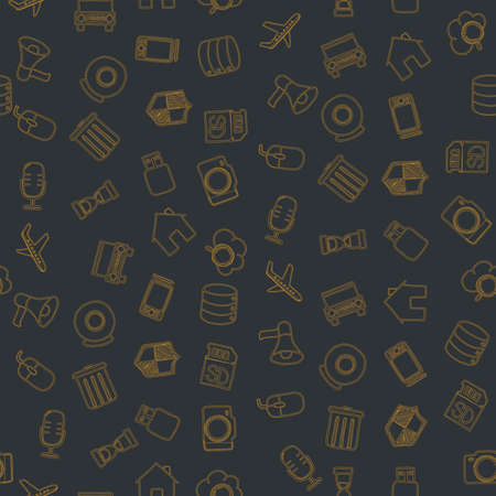 Set of diverse technological items and equipment doodle icons. Seamless pattern. Vector illustration