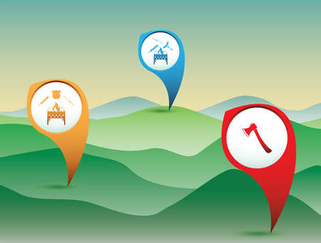 Pointer Set with travel and camping equipment icons. Vector illustration Çizim