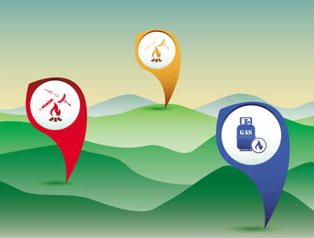 Poster with Set of travel and camping equipment icons. Map pointers. Vector illustration