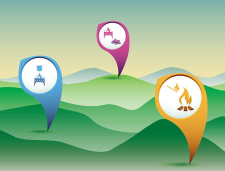 Poster with Set of travel and camping equipment icons. Map pointers. Vector illustration Çizim