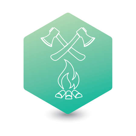 The ax and campfire icon. Flat Vector illustration   向量圖像