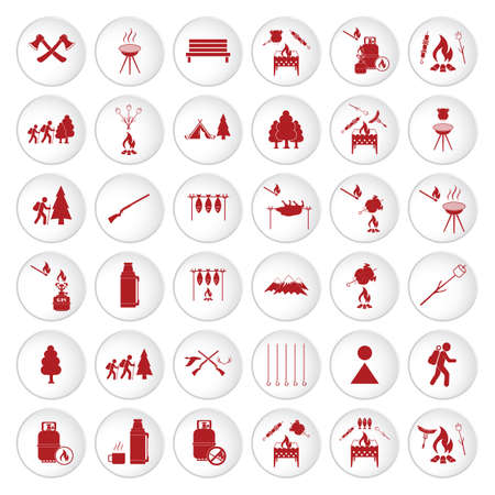 Set of travel and camping equipment icons. Vector illustration 스톡 콘텐츠 - 133421069