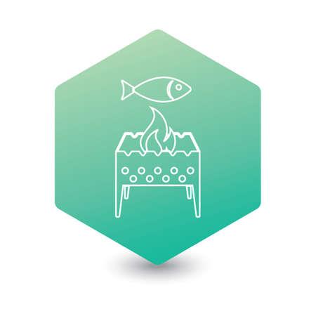 Brazier grill with fish icon. Vector illustration   Stock Illustratie