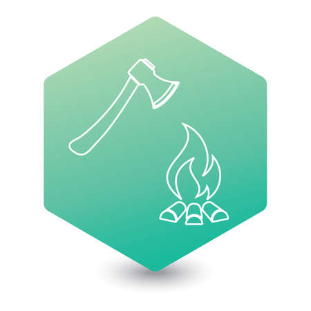 The ax and campfire icon. Flat Vector illustration   Stock Illustratie